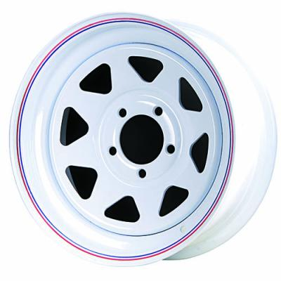 Highway Eight Spoke Trailer - White w/ Red and  Blue Stripes Tires